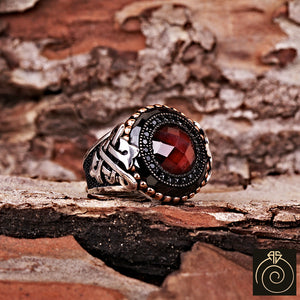 Ruby Silver Men's Ring