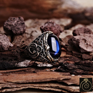 Sapphire Silver Men's Ring