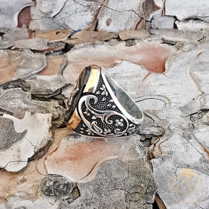 Oval Onyx Carved Silver Lucifer Sigil Men's Ring
