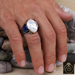 Mother of Pear Silver Men's Ring