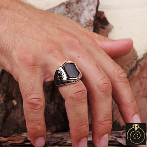 Onyx Silver Men's Shield Ring