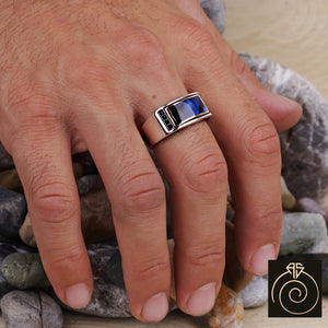 Enamel Wedding Silver Men's Ring