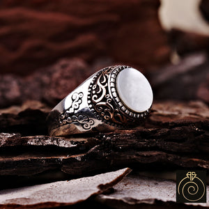 Mother Of Pearl Silver Men's Ring