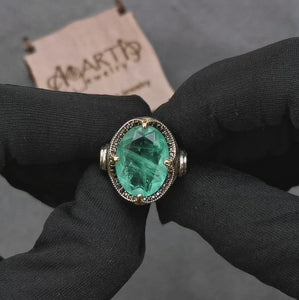 Paraiba-Tourmaline-men-silver-ring-video