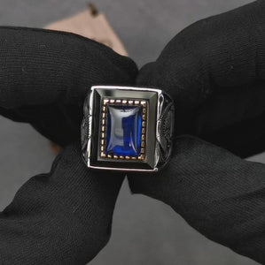 blue-saphire-silver-men's-ring-video