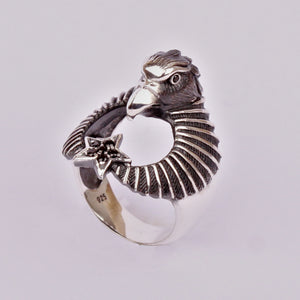 Eagle Signet Moon Star Men's Ring