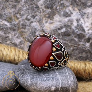 Genuine-oval-pear-stone-ring