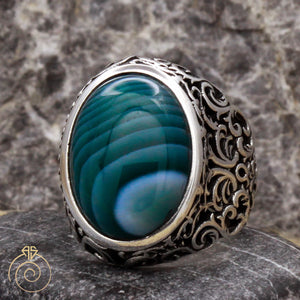Green-agate-mens-silver-ring