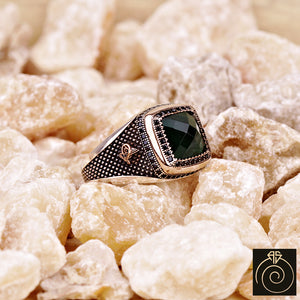 Emerald Silver Men's Ring