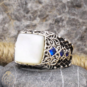 Mother-of-pearl-white-silver-men's-ring