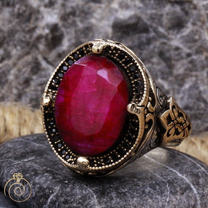 Ruby-red-mens-silver-ring