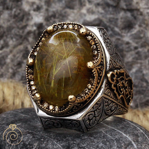 Rutilated-Quartz-men-silver-ring