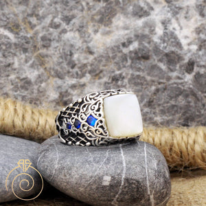 Sapphire-blue-silver-men's-ring