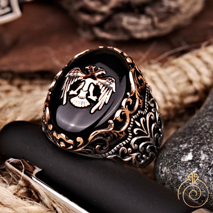Onyx Double Headed Eagle Silver Men's Ring