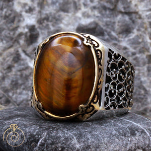 Tiger-eye-mens-silver-ring