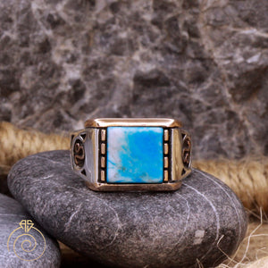 Turquoise Zodiac Sign Silver Men's Ring