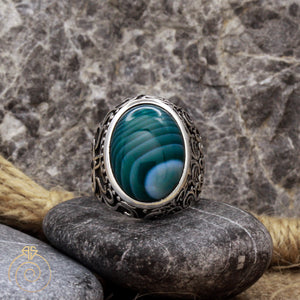 Green Agate Fantasy Men's Ring