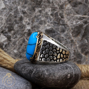 Turquoise Snake Scale Silver Men's Ring