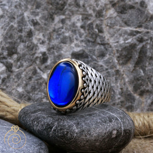 Sapphire Fish Scale Silver Men's Ring