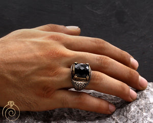 Black Quartz Alligator Scale Men's Ring