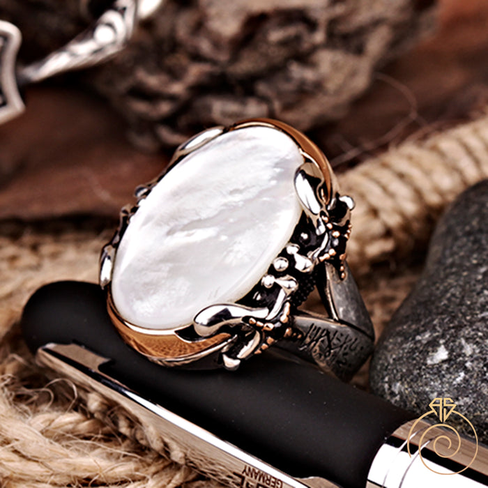 Mother of Pearl Silver Warrior Men's Ring