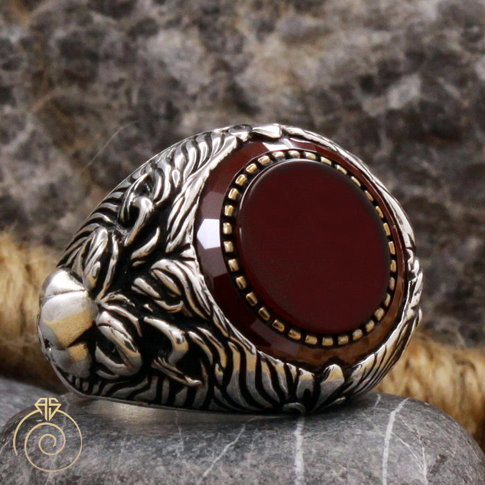 Lion Agate Silver Men's Ring