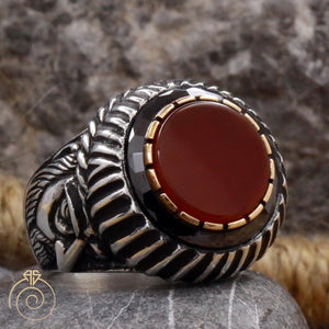 Agate Stone Emperor Face Ring