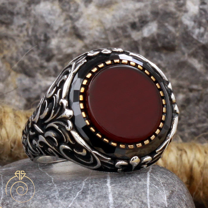 Agate Round Silver Men's Ring