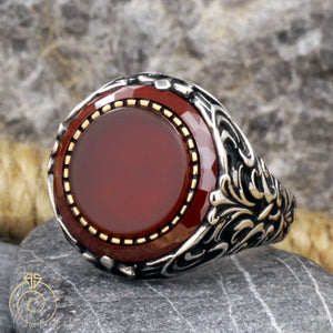 agate-red-silver-men's-ring
