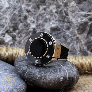 black-quartz-silver-men's-ring