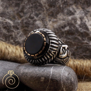 Onyx Stone Emperor Face Ring