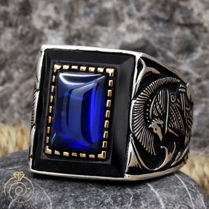blue-saphire-silver-men's-ring