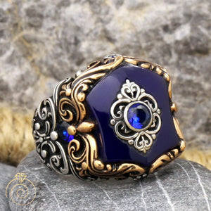 blue-sapphire-silver-men's-ring