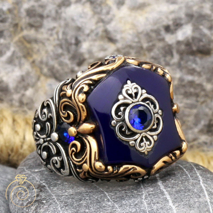 Shield Sapphire Silver Men's Ring