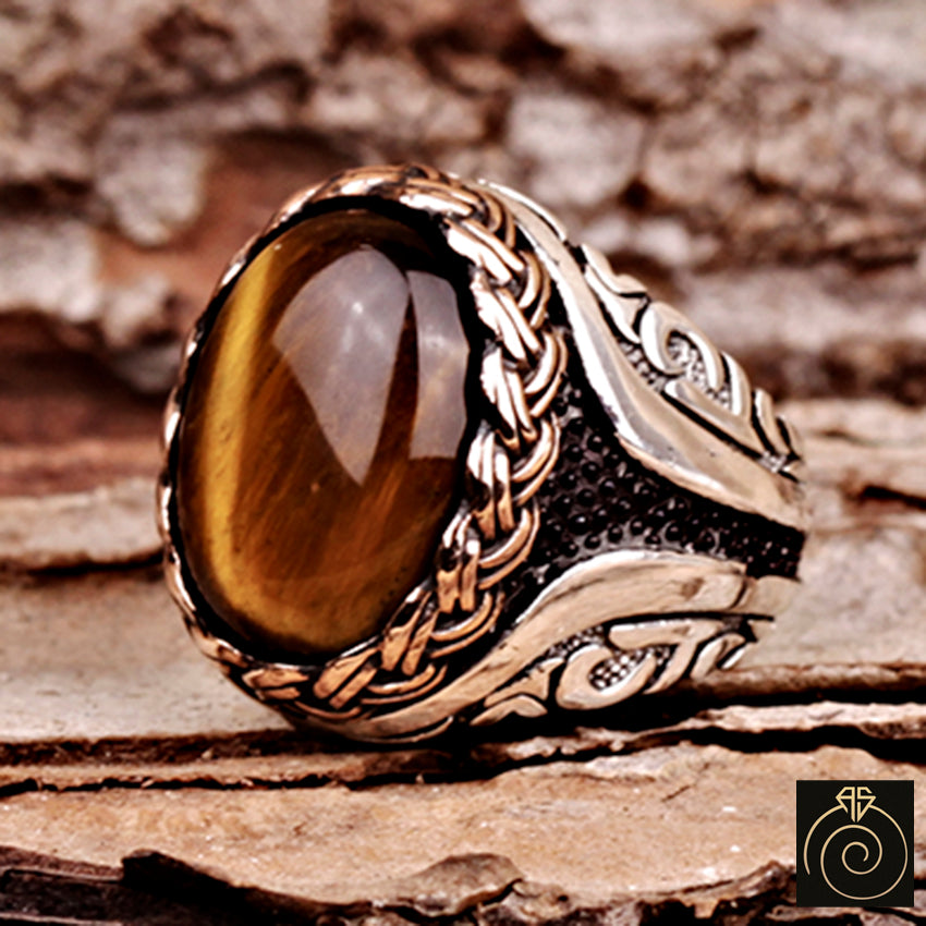 Man silver ring with tiger eye stone