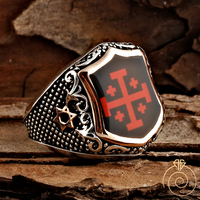 Crosslet Silver Men's Ring