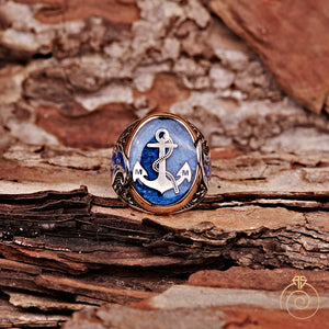enamel-blue-men-ring-custom