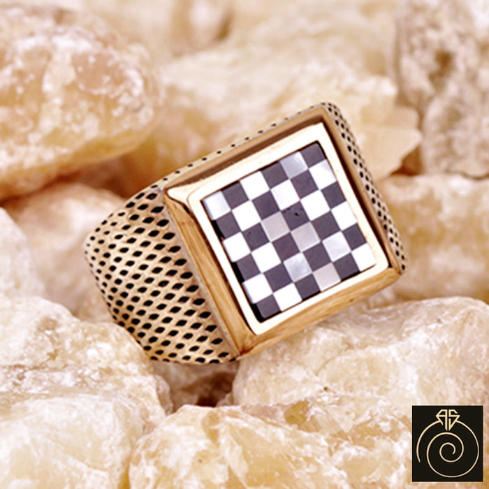 Pearl-Onyx Silver Men's Ring