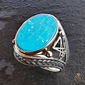 Lucifer Signet Turquoise Gemstone Men's Ring