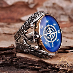 Sailor Anchor Compass Customized Men's Ring
