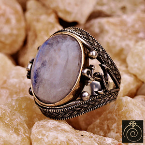 Moon Stone Silver Men's Ring