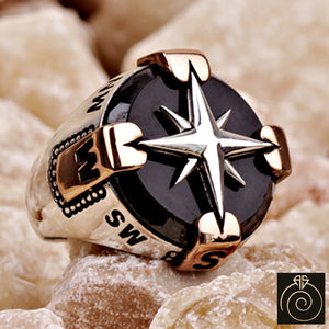 Compass Onyx Silver Men's Ring