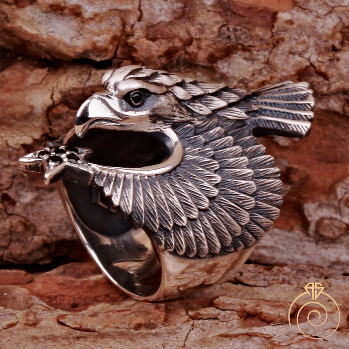 Eagle Signet Moon Star Animal Men's Ring