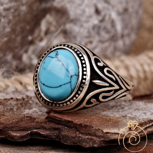 Turquoise Gemstone Engraved Men's Ring