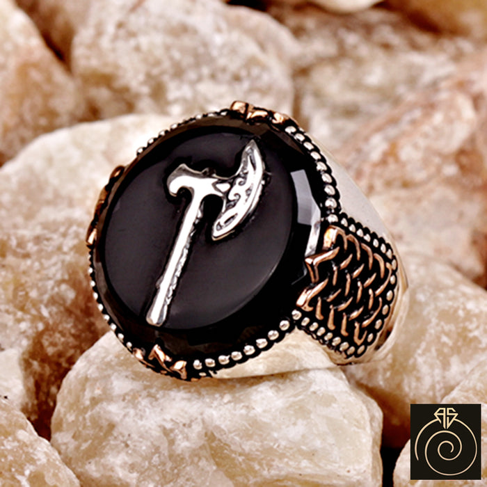 Engraved Onyx Stone Ax Signet Warrior Men's Ring