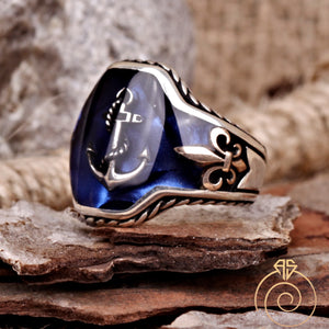 Sailor Anchor Customized Fleur De Lish Men's Ring