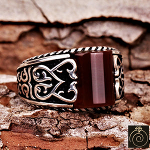 Red Agate Silver Pinky Men's Ring