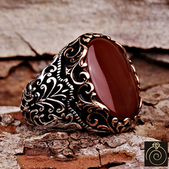 Agate Silver Men's Ring Red