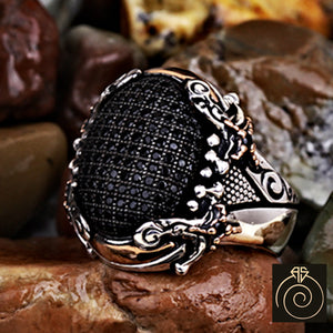 Black Swarovski Silver Men's Ring