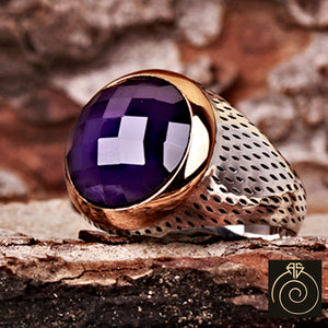 Amethyst Silver Men's Ring